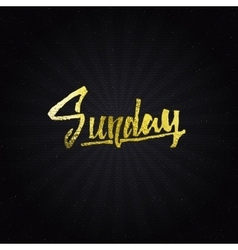 Sunday - Calligraphic phrase written in gold vector image