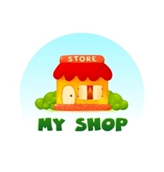 Tiny little shop image in cartoon style vector