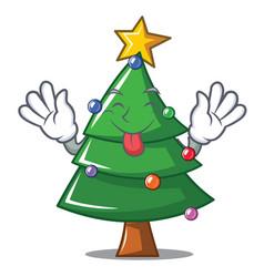 tongue out christmas tree character cartoon vector image