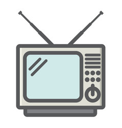 Vintage tv colorful line icon household appliance vector