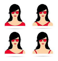Woman head with red sunglasses set vector