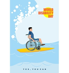 World Disabilities day Man in wheelchair floats on vector image vector image
