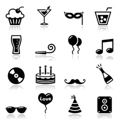 Party icons set New Year Xmas vector image