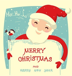 Santa claus holds christmas card with text vector