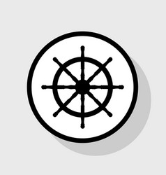 Ship wheel sign  flat black icon in white vector