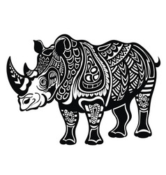 Decorative rhinoceros in tattoo style vector