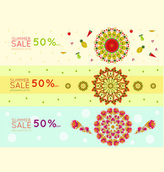 Light summer sale promotional horizontal banners vector