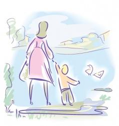 spring walk vector image