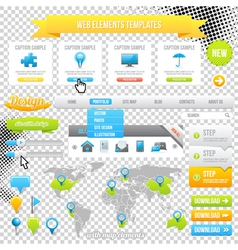 Web Elements Template Icons Sliders and Banners vector image