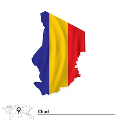 Map of chad with flag vector