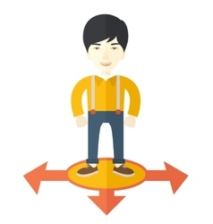 Businessman standing on three arrows vector image