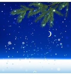 Snow night landscape vector
