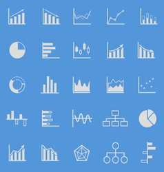 Graph color icons on blue background vector