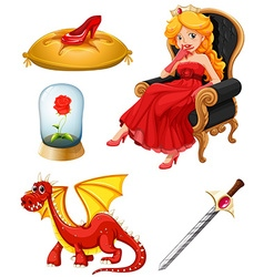 Fairy tales characters in red vector