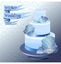 Wedding cake with winter frozen glass design vector image