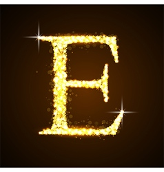 Alphabets e of gold glittering stars vector