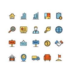 Real Estate Icon Color Set vector image