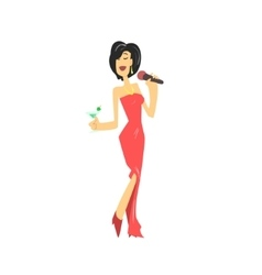 Lady in red dress singing karaoke vector