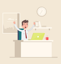 a man sits in the workplace in the office and vector image