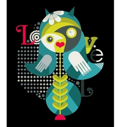 Abstract woman and birds vector image