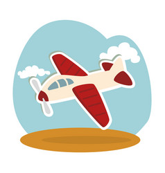 Airplane kids toy isolated icon vector