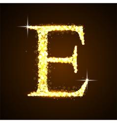 Alphabets E of gold glittering stars vector image vector image