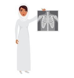Arab muslim doctor wearing veil hijab with x-ray vector