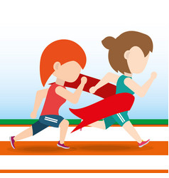Athlete woman running in competition championship vector