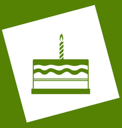 Birthday cake sign white icon obtained as vector
