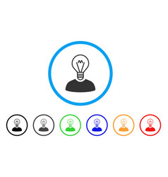 Bulb inventor rounded icon vector