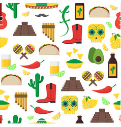 cartoon mexican culture background pattern on a vector image vector image