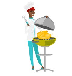 Chef cook cooking chicken on barbecue grill vector