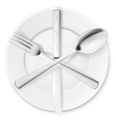 crossed fork spoon and knife on white plate vector image