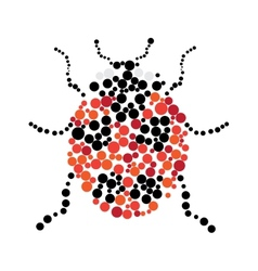 Dotted colorful ladybug silhouette vector