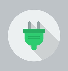 Eco flat icon electric plug vector