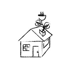 Figure house with power cable with leaves to vector