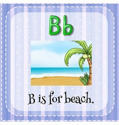 Flashcard letter b is for beach vector