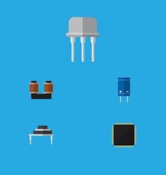 Flat icon device set of transistor resist vector