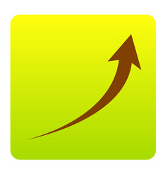 Growing arrow sign brown icon at green vector