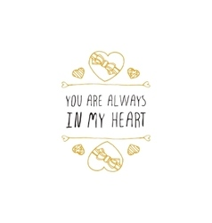 handdrawn badge for Saint Valentines day vector image