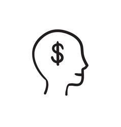 Head with dollar symbol sketch icon vector