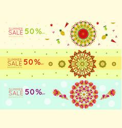 Light summer sale promotional horizontal banners vector