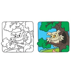 Little owl coloring book vector