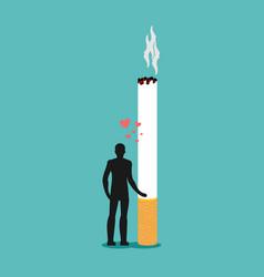 Lover smoke man hugging cigarette dependence on vector