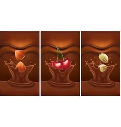 Luxury chocolate splash with cherry pistachio vector