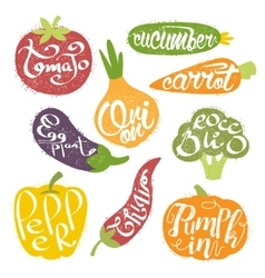 Names of fruits in fruit shaped frame collection vector