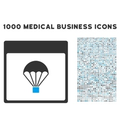 Parachute calendar page icon with 1000 medical vector