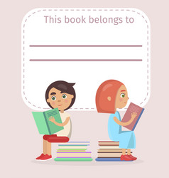 Place for name sign on book with boy and girl vector