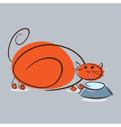 Plump red cat drinking milk eps10 vector image vector image