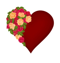 Red heart with red and tea roses valentines day vector